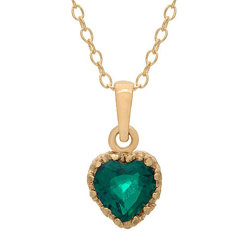 Lab-Created Emerald 14K Gold Over Silver Pendant Necklace