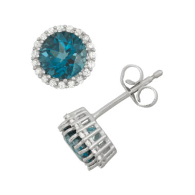 jcpenney.com | Genuine London Blue Topaz & Lab-Created White Sapphire Sterling Silver Earrings