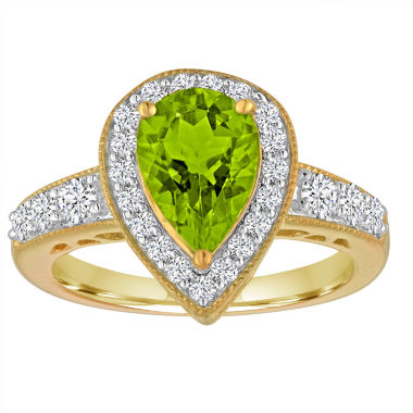 jcpenney.com | Genuine Peridot And Lab Created White Sapphire 14K Gold Over Silver Ring