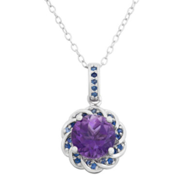 jcpenney.com | Genuine Amethyst & Lab Created Blue Sapphire Sterling Silver Pendant