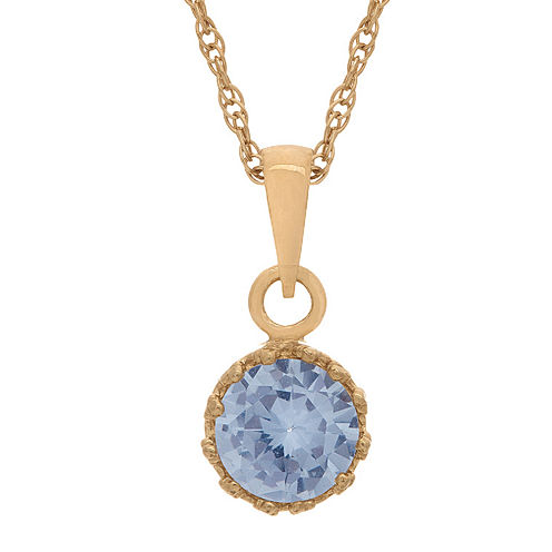Lab-Created Aquamarine 14K Gold Over Silver Pendant Necklace