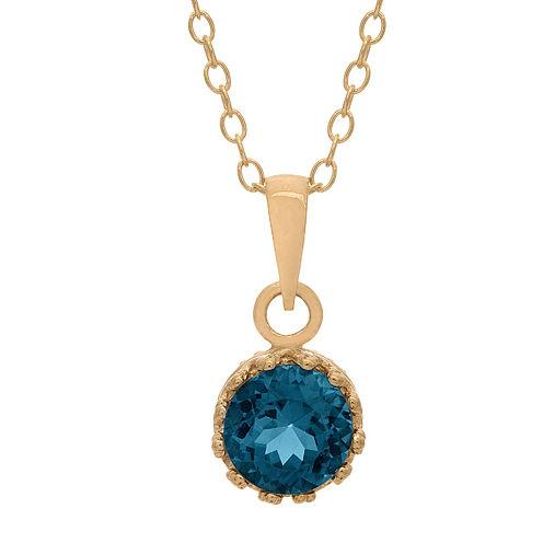Genuine London Blue Topaz 14K Gold Over Silver Pendant Necklace