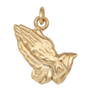 14K Yellow Gold Praying Hands Charm Pendant