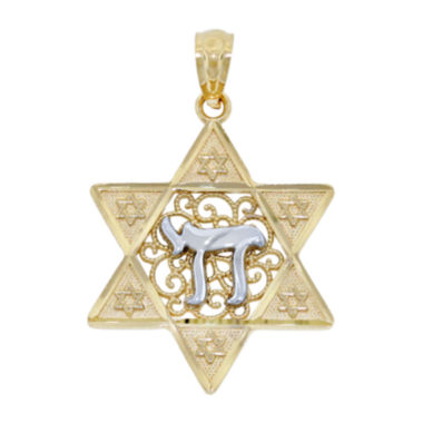 jcpenney.com | 14K Two-Tone Gold Star Of David With Chai Charm Pendant