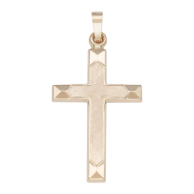 jcpenney.com | Religious Jewelry 14k Yellow Gold Polished Beveled-Edge Cross Charm Pendant