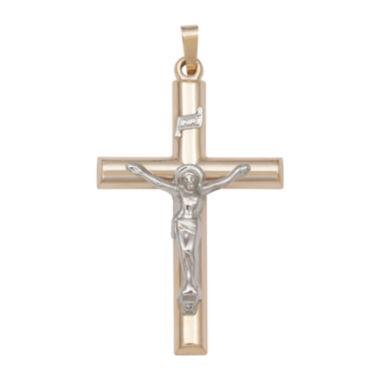 jcpenney.com | 14K Two-Tone Gold Polished Crucifix Charm Pendant