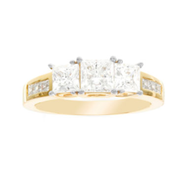 jcpenney.com | Diamonart® 10K Yellow Gold Cubic Zirconia 2.66 C.T. T.W. 3 Stone Princess Ring