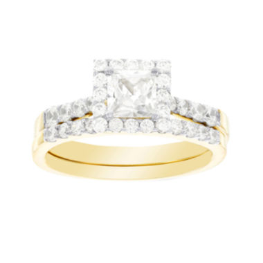 jcpenney.com | DiamonArt® Cubic Zirconia 3 1/5 CT. T.W. 10K Yellow Gold Bridal Ring Set