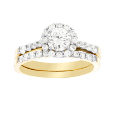 jcpenney.com | DiamonArt® Cubic Zirconia 2 1/2 CT. T.W. Bridal 10K Yellow Gold Ring Set
