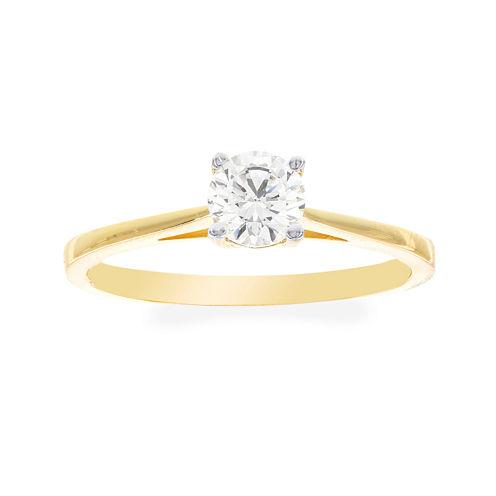Diamonart® 10K Yellow Gold Cubic Zirconia .85 C.T. T.W.. Round Solitaire Ring