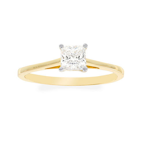 Diamonart® 10K Yellow Gold Cubic Zirconia .85 C.T. T.W.. Princess Solitaire Ring