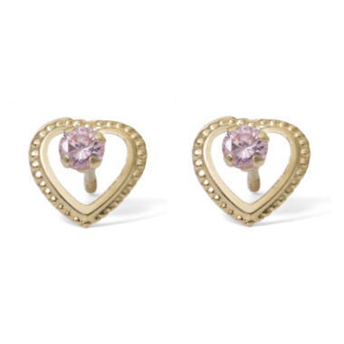 jcpenney.com | Round Pink Cubic Zirconia 14K Gold Stud Earrings
