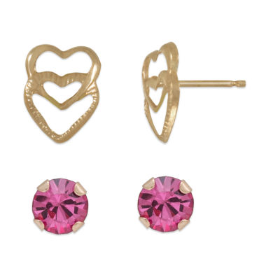 jcpenney.com | Pink Cubic Zirconia 14K Gold Earring Sets