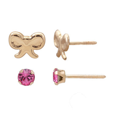 jcpenney.com | Children's 14K Gold 2-pc Pink Cubic Zirconia And Bow Stud Earring Set