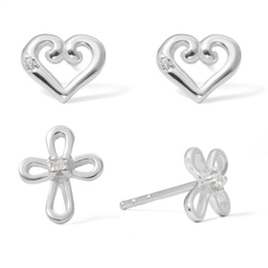 jcpenney.com | Sterling Silver Heart Cross Earring Sets