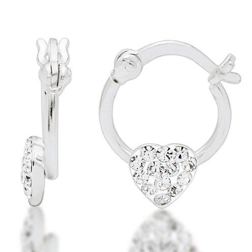 Sterling Silver White Crystal Hoop Earrings
