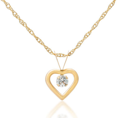 jcpenney.com | Children's 14K Gold Cubic Zirconia Heart Pendant Necklace