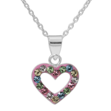 jcpenney.com | Sterling Silver Multi Color Crystal Heart Pendant Necklace