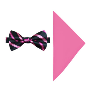 jcpenney.com | Susan G. Komen® Stripe Pre-Tied Bow Tie and Pocket Square Set