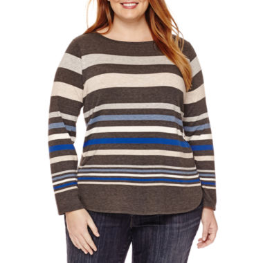 jcpenney.com | Liz Claiborne® Long-Sleeve Envelope-Neck Tee - Plus