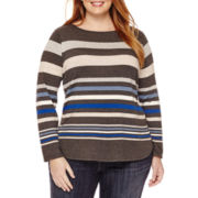 Liz Claiborne® Long-Sleeve Envelope-Neck Tee - Plus