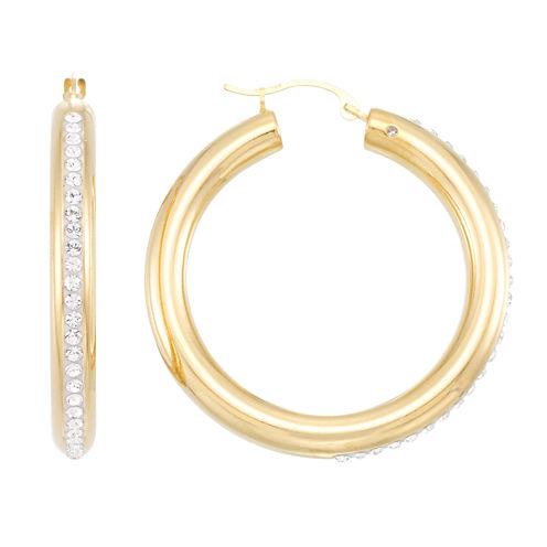 Gold Opulence White Crystal 14K Gold Hoop Earrings