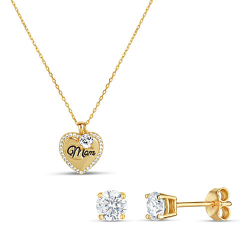 Womens 2-pc. 2 CT. T.W. White Cubic Zirconia 18K Gold Over Silver Jewelry Set