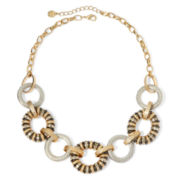Monet® Tri-Tone & Crystal Circle Necklace