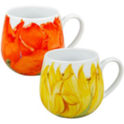 Set of 2 Poppy and Sunflower Coffee Mugs