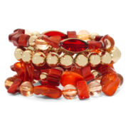 Mixit™ Gold-Tone Orange Bead and Shell 4-pc. Stretch Bracelet Set