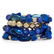 Mixit™ Gold-Tone Blue Bead and Shell 4-pc. Stretch Bracelet Set
