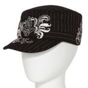 Black Pinstriped Fleur-De-Lis Cadet Hat