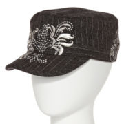 Gray Pinstriped Fleur-De-Lis Cadet Hat