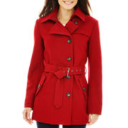 a.n.a® Short Belted Wool-Blend Coat - Talls