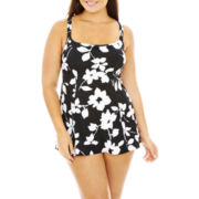 Robby Len by Longitude® Floral Print Princess Seam 1-Piece Swimdress - Plus