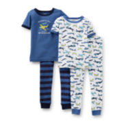 Carter's® 4-pc. Short-Sleeve Airplane Pajama Set – Boys 6m-24m