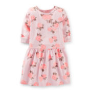 Carter's® 3/4-Sleeve Floral Print Knit Dress – Girls 2t-4t