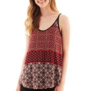 by&by Lattice-Back Print Tank Top