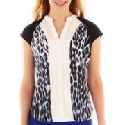 Worthington® Short-Sleeve Button-Front Colorblock Blouse - Petite