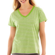 Short-Sleeve V-Neck Striped Top