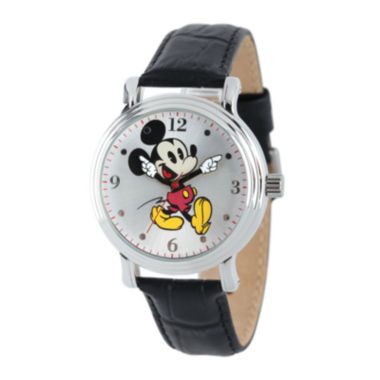 jcpenney.com | Disney Mickey Mouse Womens Black Leather Strap Watch