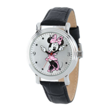 jcpenney.com | Disney Minnie Mouse Womens Black Leather Strap Watch