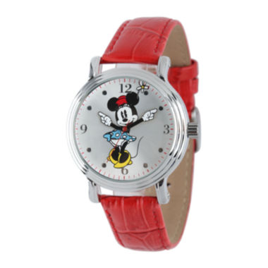 jcpenney.com | Disney Minnie Mouse Womens Red Leather Strap Watch