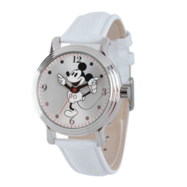 jcpenney.com | Disney Mickey Mouse Womens White Leather Strap Watch