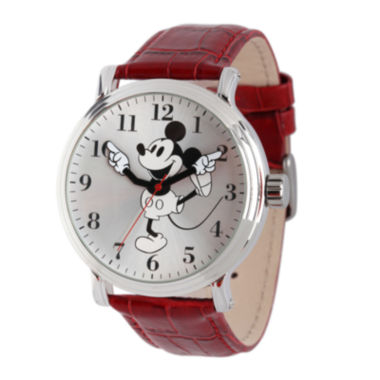 jcpenney.com | Disney Mickey Mouse Mens Red Leather Strap Vintage-Style Watch