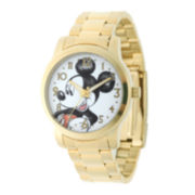 Disney Mickey Mouse Mens Gold-Tone Stainless Steel Watch