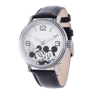 jcpenney.com | Disney Mickey Mouse and Minnie Mouse Womens Black Leather Strap Watch