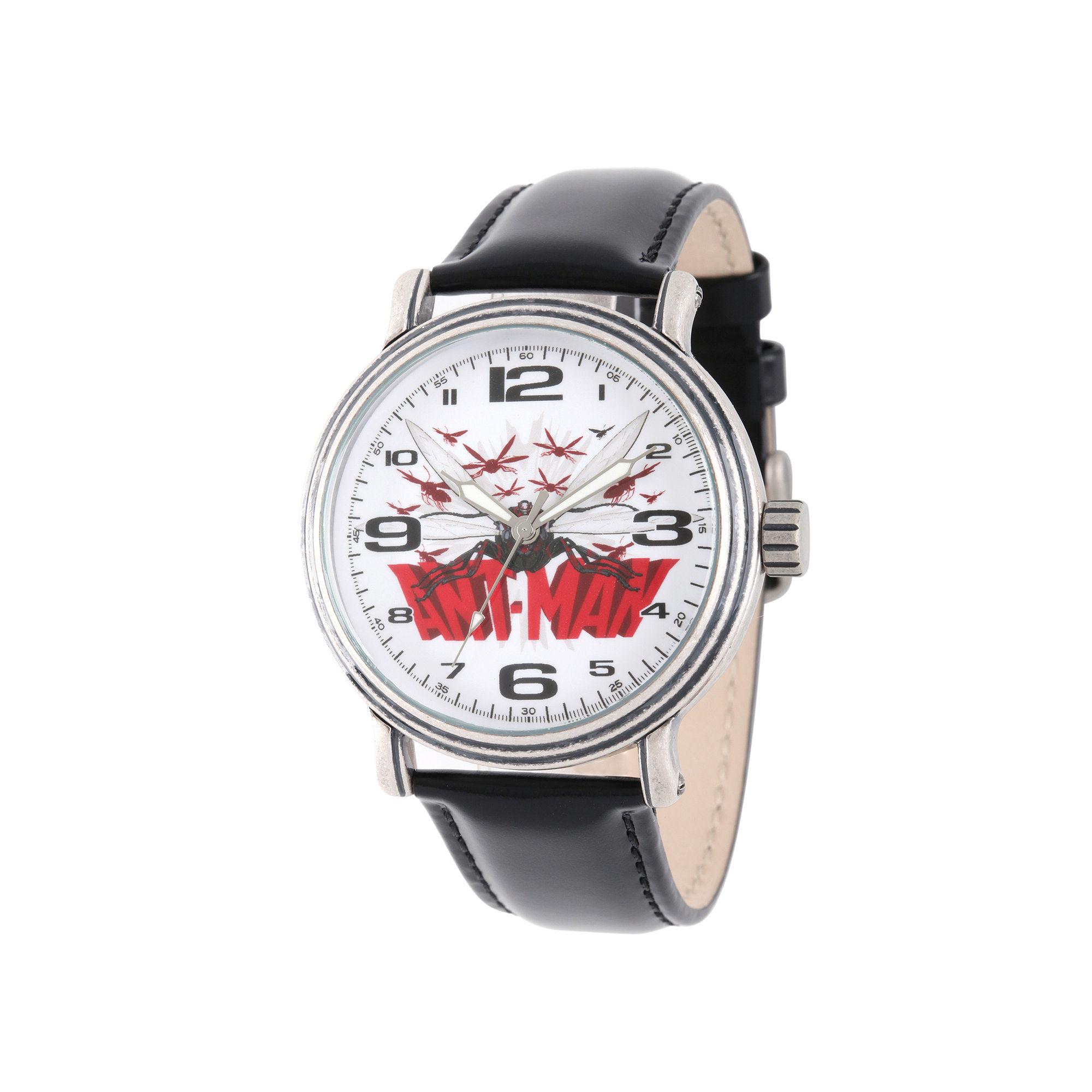 Marvel Ant-Man Mens Black Leather Strap Vintage-Style Watch