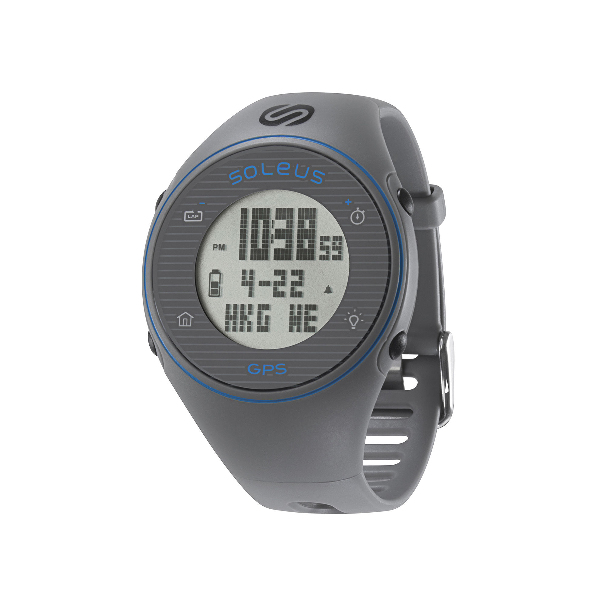 Soleus GPS One Gray Silicone Strap Running Digital Sport Watch