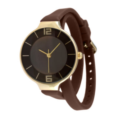 jcpenney.com | TKO ORLOGI Womens Brown Silicone Strap Wrap Watch